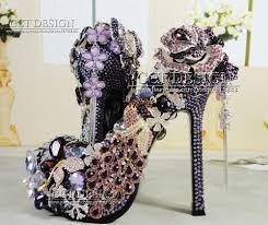 wedding shoes jeweled heels handmade luxury jeweled peacock diamond platforms high heels