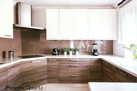 modern kitchen with brown cabinets quartz on a modern kitchen with beige