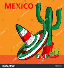 Cartoon Mexican Flag Poster Mexico Image Mexican Flag Sombrero Stock Illustration