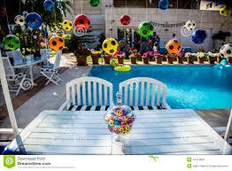 kids birthday party soccer theme stock photo image 43473858