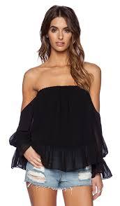 Shoulder Top - t bags losangeles sleeve the shoulder top in black revolve