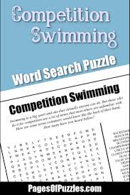 competition swimming word search u2013 pages of puzzles