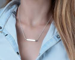 custom engraved necklace pendants silver bar necklace personalized four sided bar pendant