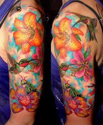 tattoo tattoos half sleeve hummingbird and flowers color