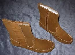 Brown Fringe Ankle Boots Minnetonka Moccasin Brown Fringe Ankle Boots Suede Women U0027s Size 6