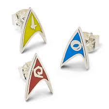 stud earrings trek delta enamel stud earrings division colors thinkgeek
