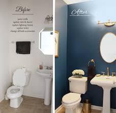 Powder Room Makeover Dark Elegant Bathroom Gold Navy Powder Room Dark Interiors