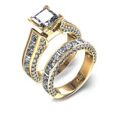 diamond wedding sets 9 10 ctw channel set princess cut diamond wedding set 14k yellow gold