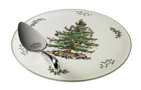 spode tree cake plate and server flatware