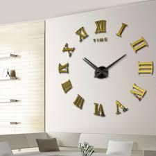 roman style home decor 2016 modern diy interior roman numeral scales wall clock 3d mirror