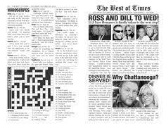 newspaper wedding programs newspaper wedding program personalized 11x17 inches digital
