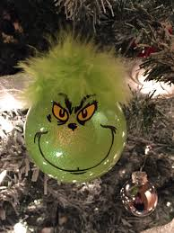 grinch ornaments used a plain glass ornament and used mop and glo