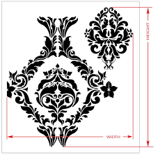 large wall damask stencil faux mural design 1007 13