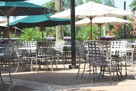 Restaurant Patio Tables by Shot Of An Outdoor Restaurant Tables And Umbrellas Stock Photo