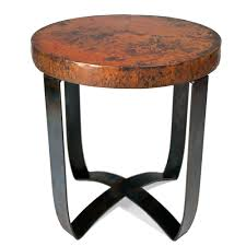 copper top coffee table round strap end table with hammered copper top