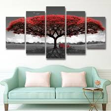 painting for bedroom 5 panel printed red tree art scenery landscape modular picture