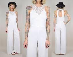 70s jumpsuit womens white 70 s cutout open back halter crochet jumpsuit palazzo