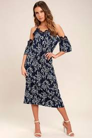 lovely navy blue dress floral print dress off the shoulder