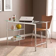 Chrome Office Desk Clay Alder Home Liberty Chrome Glass Desk Ebay