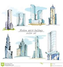 modern sketch buildings colored stock vector image 40974605