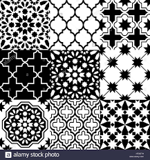 moroccan tiles design seamless black pattern collections stock