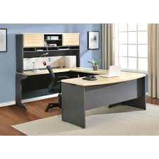 altra benjamin grey natural u shaped desk with hutch bundle