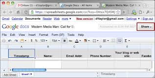 how can i share a google docs spreadsheet ask dave taylor