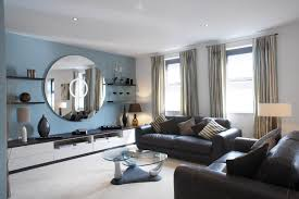mellow blues give this room sophisticated charm an interior