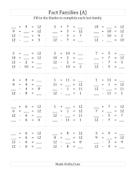 addition and subtraction fact worksheets worksheets
