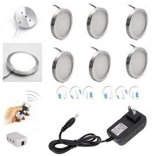 puck lights with remote wireless led under cabinet lighting dimmer with rf remote control 6