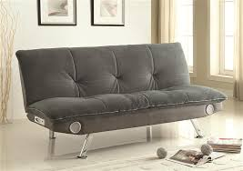 grey futon sofa bed with built in bluetooth speaker by coaster