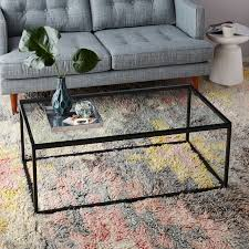 glass coffee and end tables box frame coffee table glass antique bronze west elm