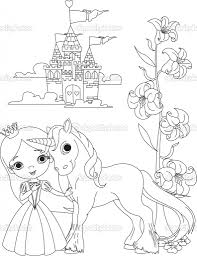 image detail for beautiful princess and unicorn coloring page