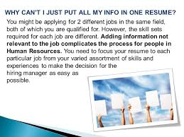 Different Resumes For Different Jobs by Strategies On Achieving Reemployment Ppt Download