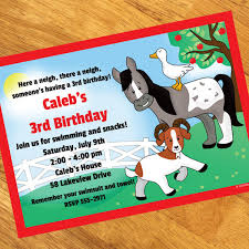 farm birthday personalized invitations