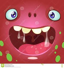 cartoon monster face vector halloween red monster avatar with