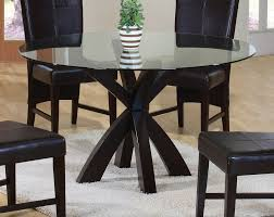 Glass Dining Table 4 Chairs Round Black Dining Table Set