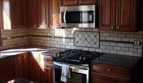 Grey Glass Backsplash by Kitchen Brown Wooden Kitchen Cabinet Beige Tiled Back Splash