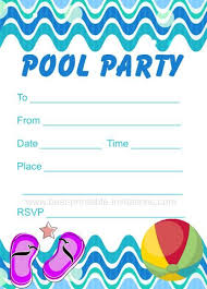 pool invitation skyblue lifebuoy waves pool
