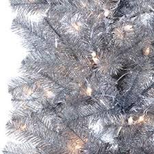 trim a home 6 5 pre lit silver pencil tree