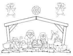 preschool nativity scene christmas coloring nativity