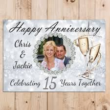 personalised 15th crystal wedding anniversary party photo banner