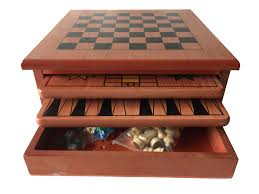 10 in 1 wooden chess board games slide out best checkers house