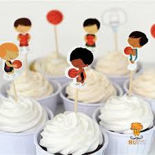 basketball cake toppers 24pcs basketball cake toppers sports cupcake picks cases kids