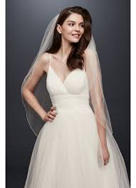 pencil wedding dress one tier tulle fingertip veil with pencil edge david s bridal