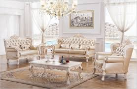 Living Room Luxury Furniture Baroque Living Room Furniture Sofa Set Solid Wood And Leather Sofa