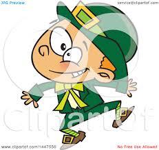 clipart of a cartoon energetic st patricks day leprechaun boy
