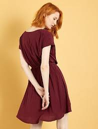flowing dress with wrapover neckline women size 34 to 48 red