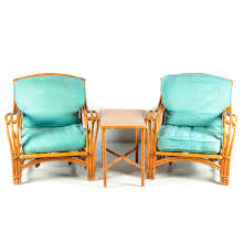 Modern Rattan Furniture Mid Century Modern Rattan Chairs And Table By Heywood Wakefield Ebth