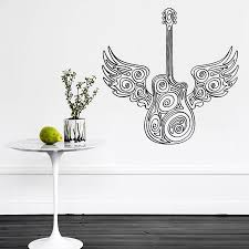 popular guitar wing buy cheap guitar wing lots from china guitar art vinyl sticker guitar wings wall decal music love decor mural studio living room removable home